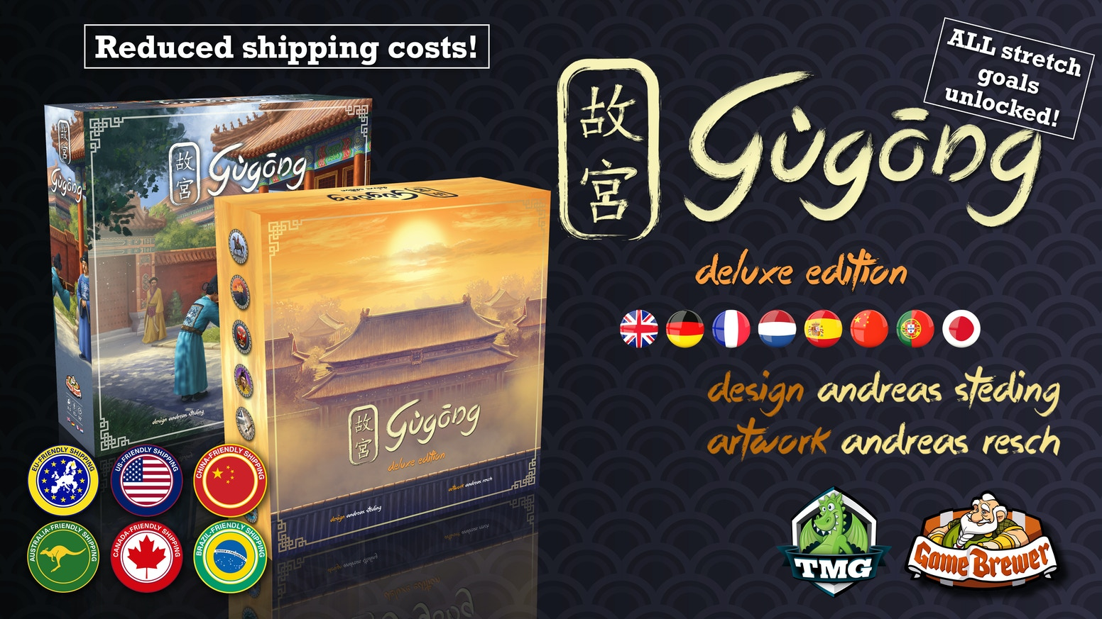 "Game Brewer, Tasty Minstrel, Dexker & Kronos bring to you ""Gùgōng"", by Andreas Steding, in a Kickstarter Deluxe Edition."