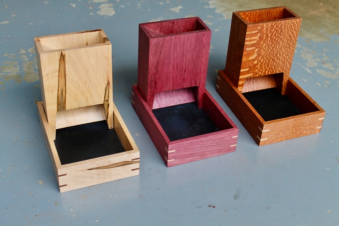 The Dryad Tower & Tray in Ambrosia Maple, Purpleheart, and Leopardwood