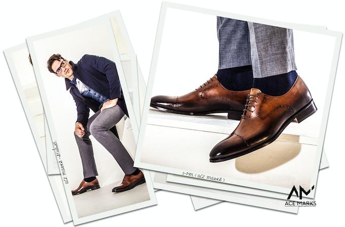 Nico - Cuoio Tramonto; Socks by Ace Marks - Chevron Lg. Navy