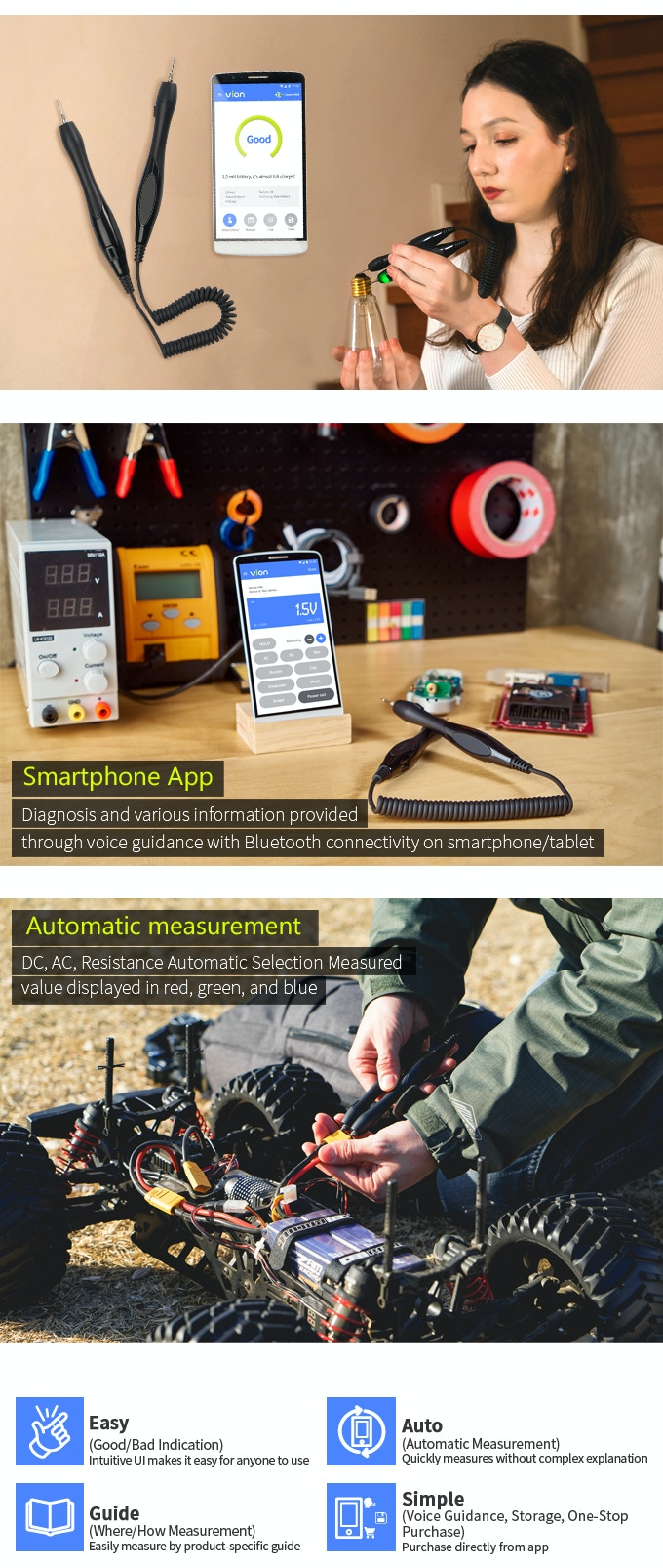 Vion Auto Detection L Bluetooth Smartphone App Multimeter By Meter Dpm To Measure Ac Voltage Simply Smarter Circuitry Blog Measures And Resistance Has A Pair Of Probes Without Body Allows You See The Breakdown Electricity Powered Products On Your