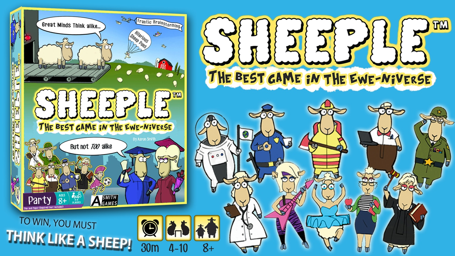 "The hilarious party game that makes you ""Think Like a Sheep!""  Great for friends and family."