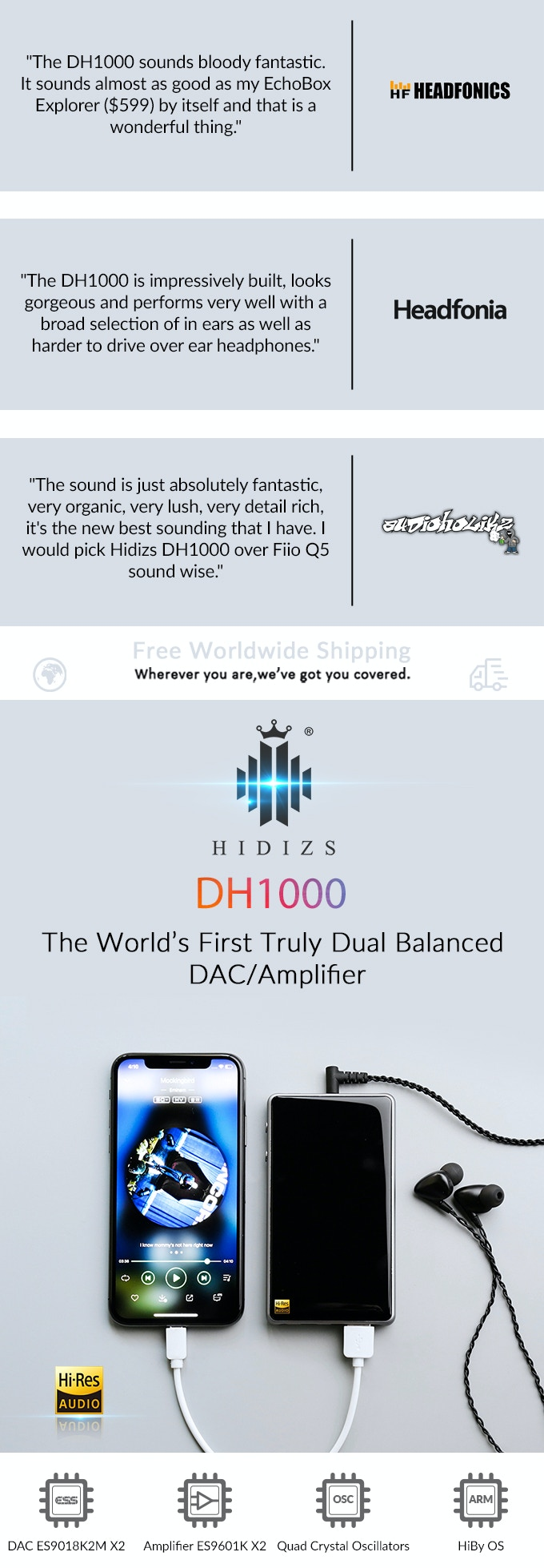 Hidizs DH1000: World's First Truly Dual Balanced Amplifier