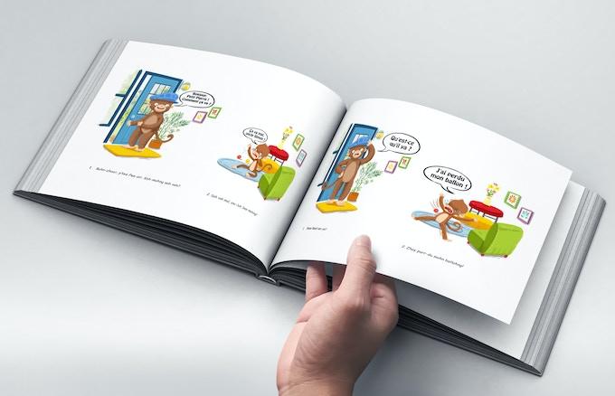 Example interior with pronunciation guide beneath illustrations