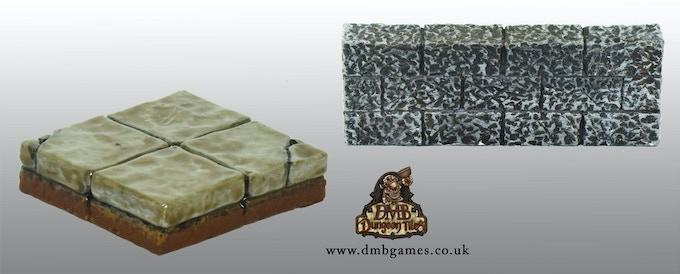 2x2 Cracked Flagstone Floor & Gothic Wall