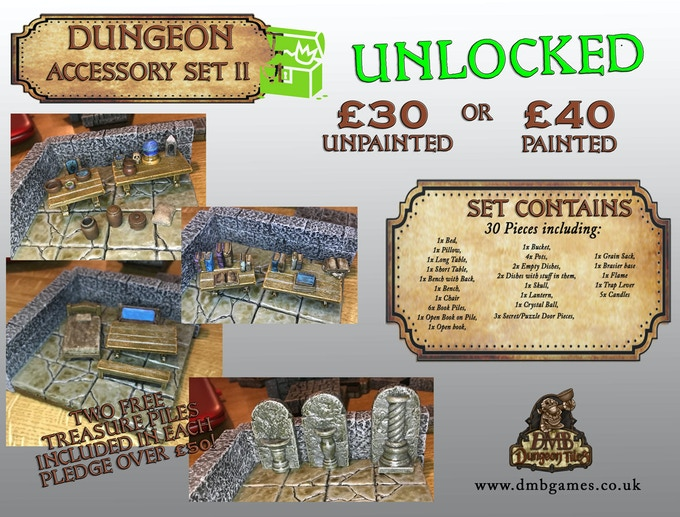 Stretch Goal 6: £4,000 – Dungeon Accessory Set II – UNLOCKED!