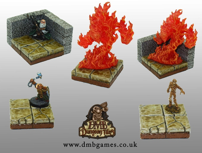 Reaper Miniature Figures on our Tiles to show scale and how the integrated bases fit our tiles.