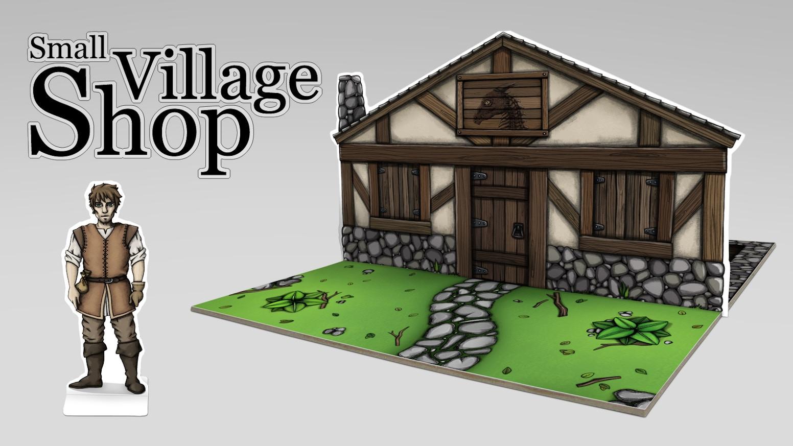 Village Shop   Fantasy Paper Miniature for tabletop RPG by Dominique
