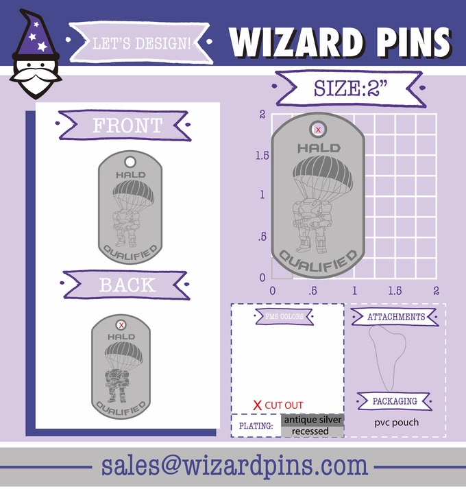 dog tag art proofs from Wizard Pins