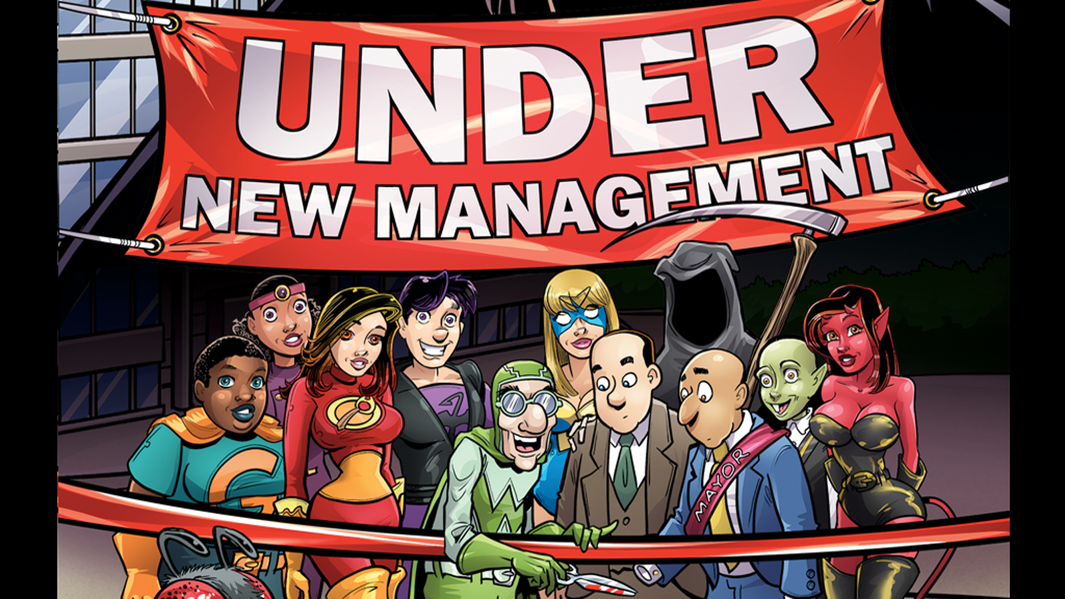 "The new Evil Inc graphic novel, ""Under New Management"" collects all of the comics from the 2016 relaunch through 2017"