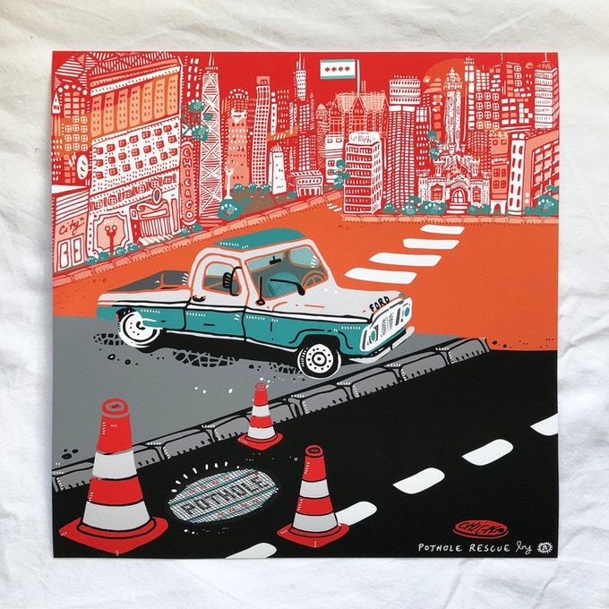 "For a donation of $50 a limited edition (of 50) 12"" x 12"" giclée print of ""Pothole Rescue"" by French artist Julie Baldassi! This signed and stamped print features my beloved pickup!"