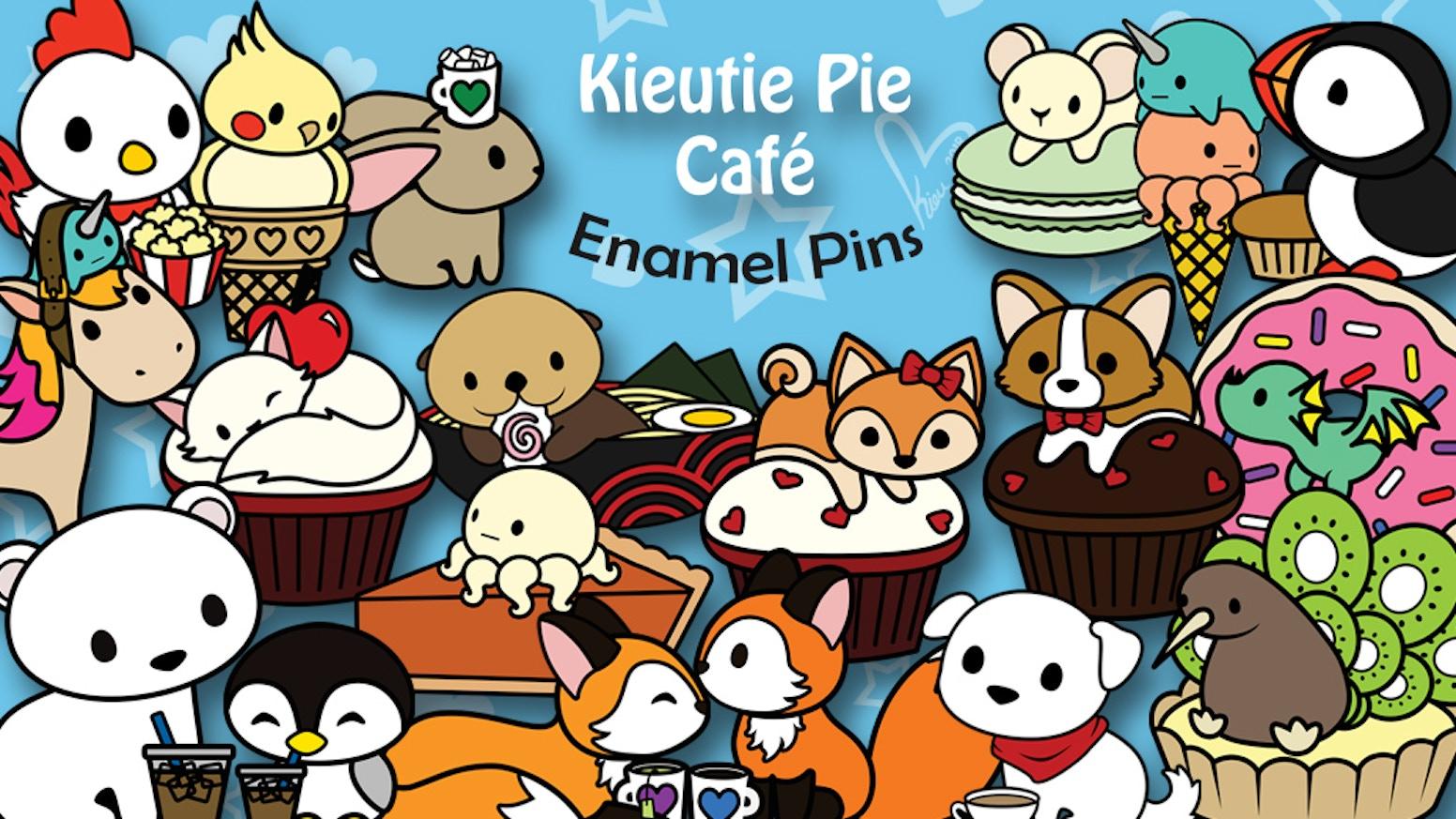 Welcome to Kieutie Pie Café! Help bring these Kieutie Pies; Tea Fox, Cocoa Bunny, & Cupcake Kitten, to life as shiny hard enamel pins!