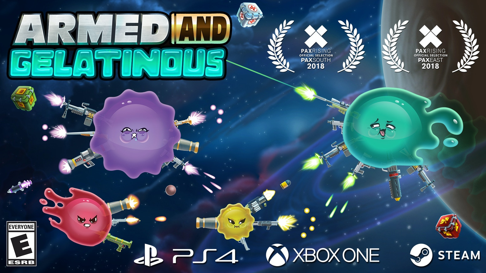 A local/online multiplayer bullet-hell space-shooter of epic proportions! Coming to Xbox One, PlayStation 4, and Steam.