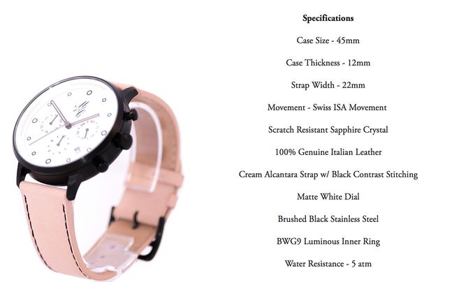 La Crème - Matte White Dial w/ Black Brushed Casing