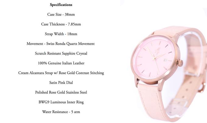 La Rose - Satin Pink Dail w/ Rose Gold Casing