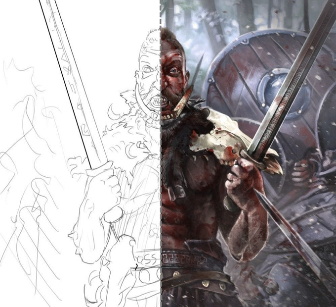 From sketch to art: bringing a Berserker to life