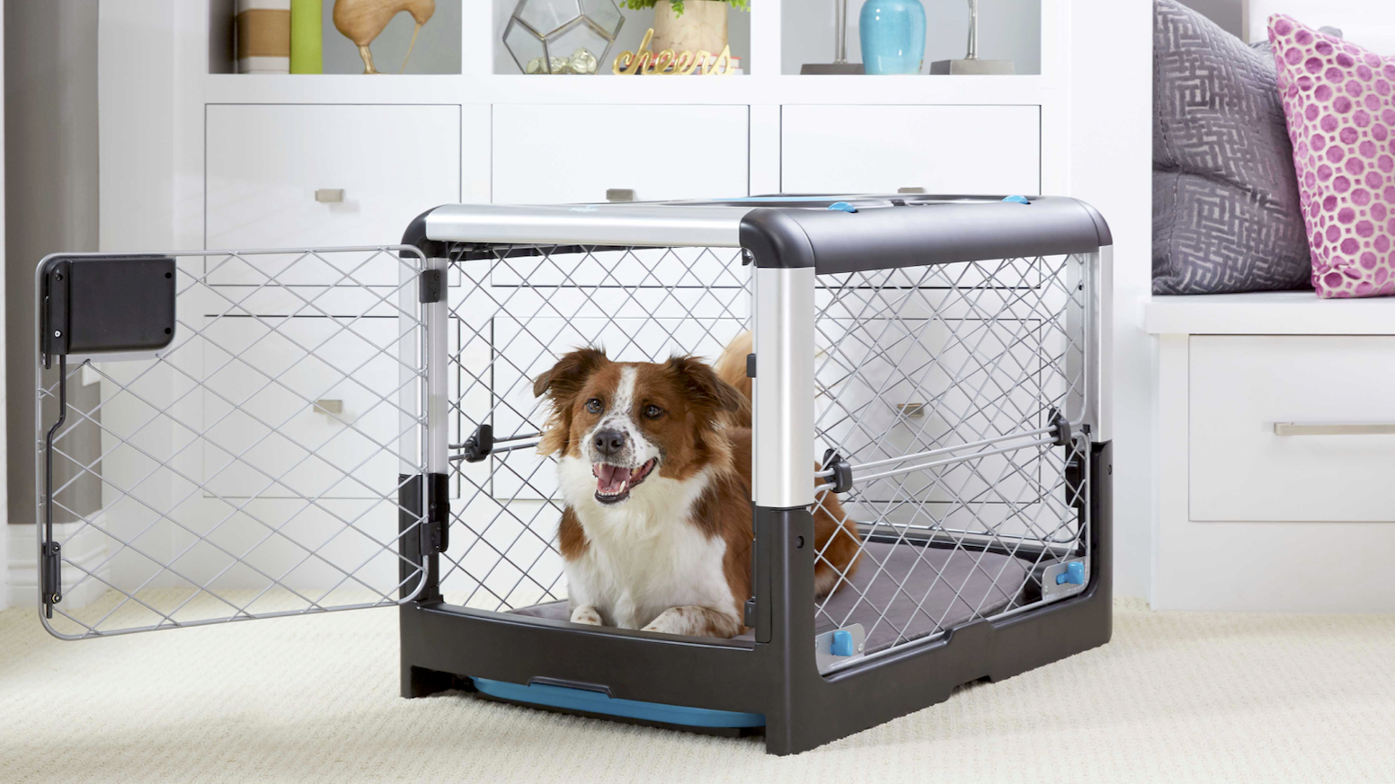 The Revol Dog Crate is ergonomic, simple to use, stylish & safer than other wire crates. Combined with Snooz, it's the best crate ever.