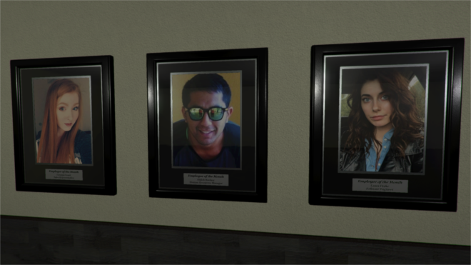 (Example of how your picture may be used in the environment. In this instance, placed within Employee of the Month picture frames.)