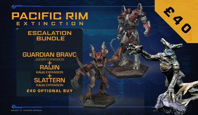 The Guardian Bravo and Raijin Expansion Sets can be purchased together in the Escalation Bundle for £40, which will also include the Slattern Expansion Set when we unlock its stretch goal – meaning you'll be getting 3 expansions for the price of 2!