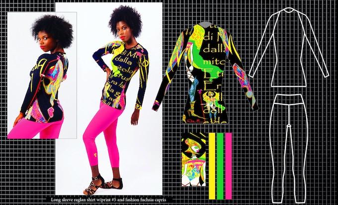 Long sleeve raglan top with print #5 and fashion fuchsia capris