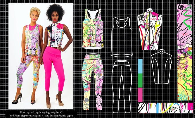 Tank top and capri leggings with print #2 and front zipper vest with print #1 and fashion fuchsia capris