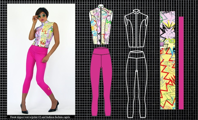 Front Zipper vest with print # 2 and fashion fuchsia capris