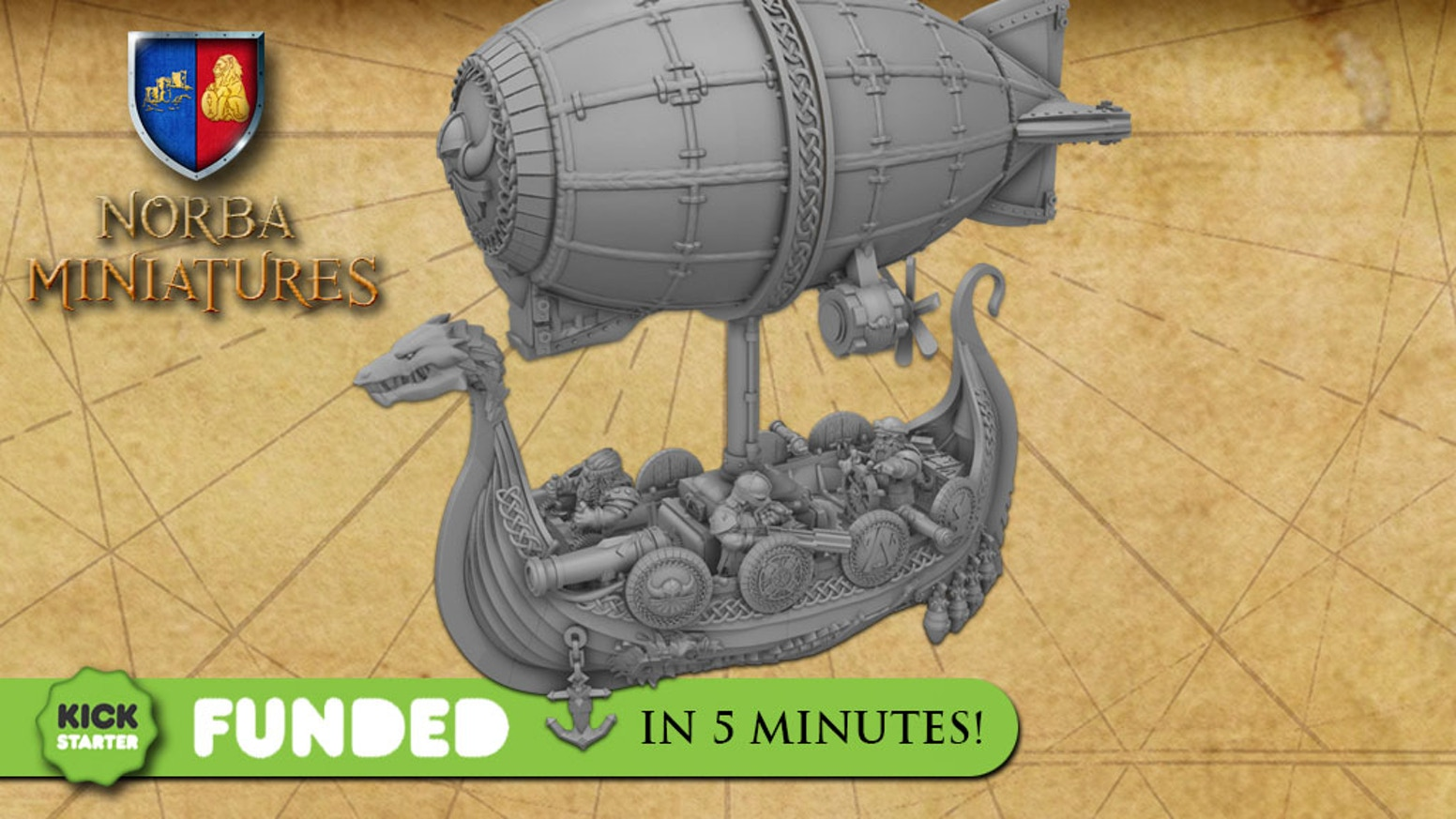 Miniature dwarf zeppelin for wargames or collecting to use in your boardgames. Best miniature prices for your tabletop games.