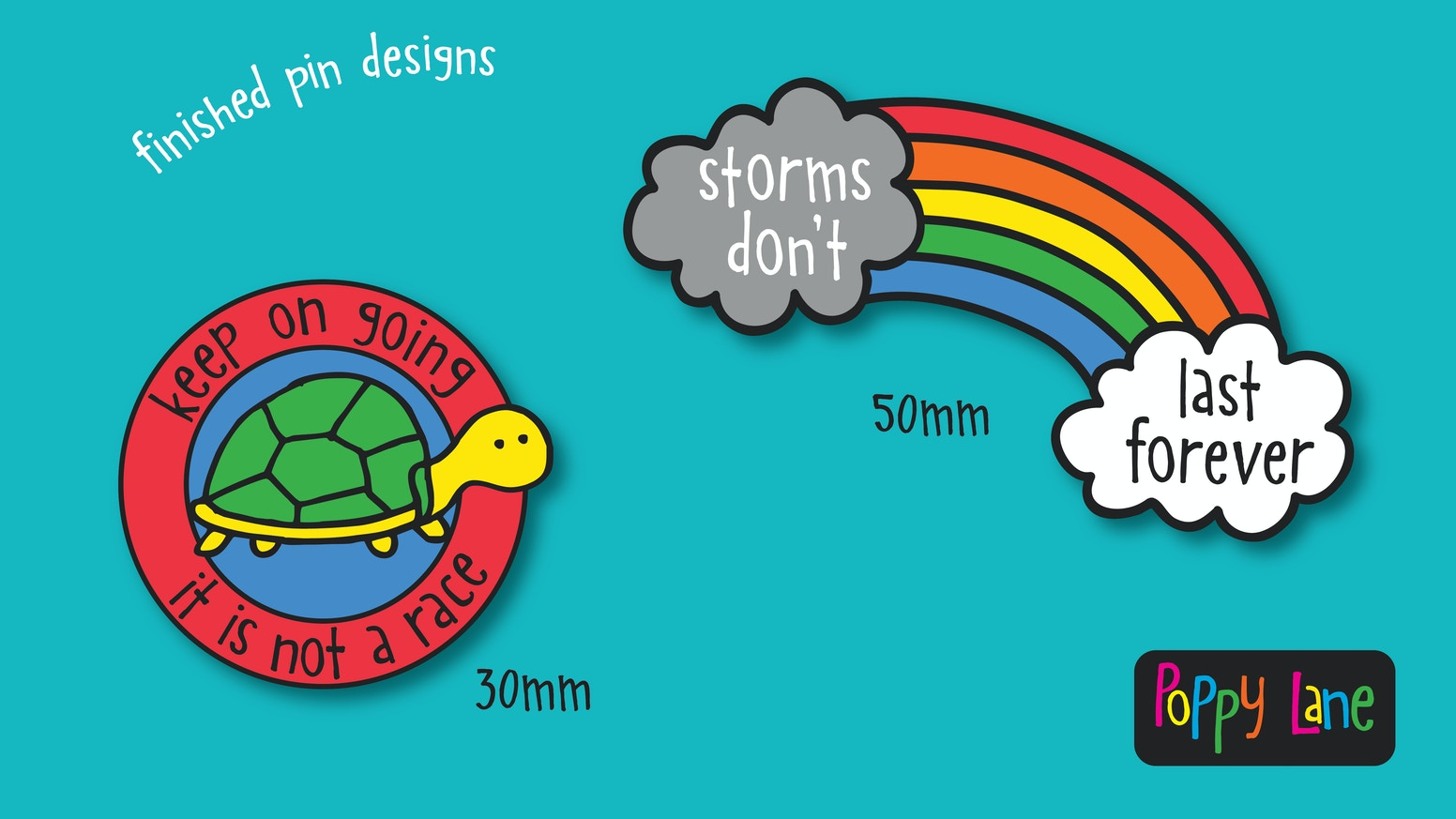 Enamel Pins: Bright colourful pins with positive messages by