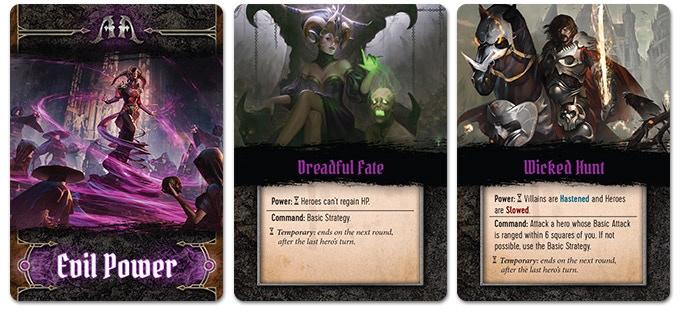 Evil Power cards determine the behavior of your foes (Sentinels/Snipers/Warlords).
