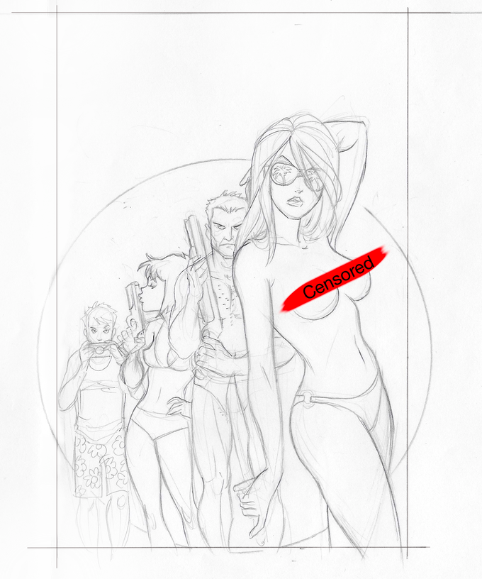 REWARD 11: The censored, rough pencil cover drawing of the AMANDA CONNER limited edition cover