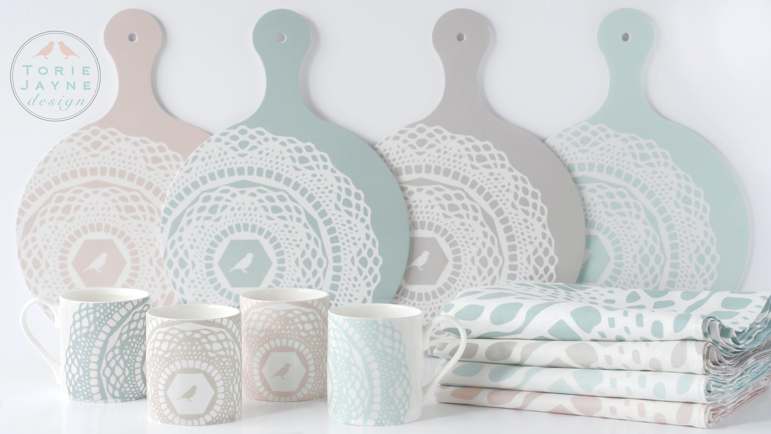 Design-led homeware brand in chalky pastels centred around the kitchen: fine bone china, melamine chopping boards, textiles. Made in UK