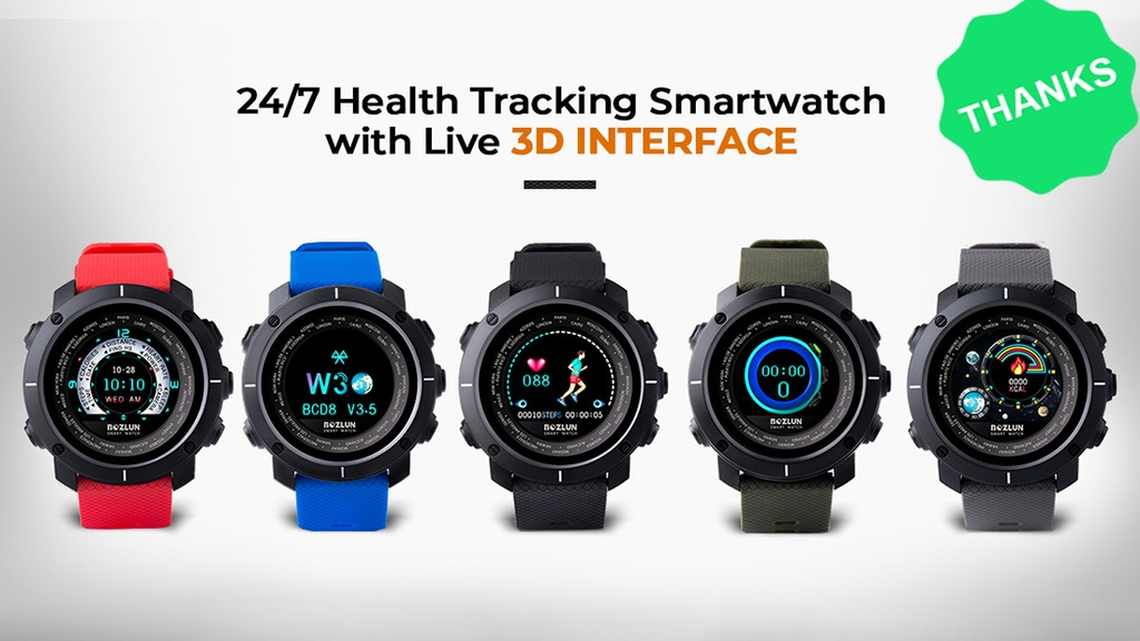BozGo, 24/7 Health Tracking Smartwatch with Live 3D UI project video thumbnail