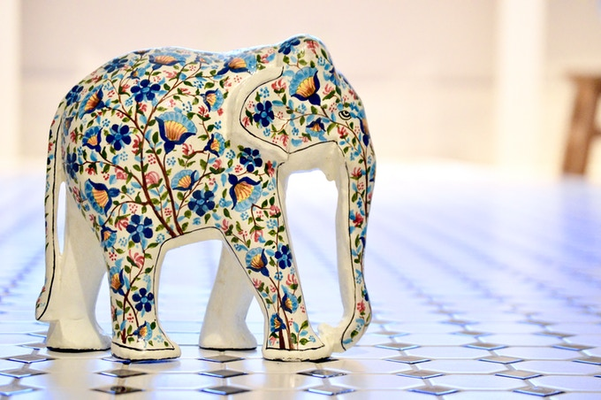 """""""Fabrique"""" elephant out for a stroll"""