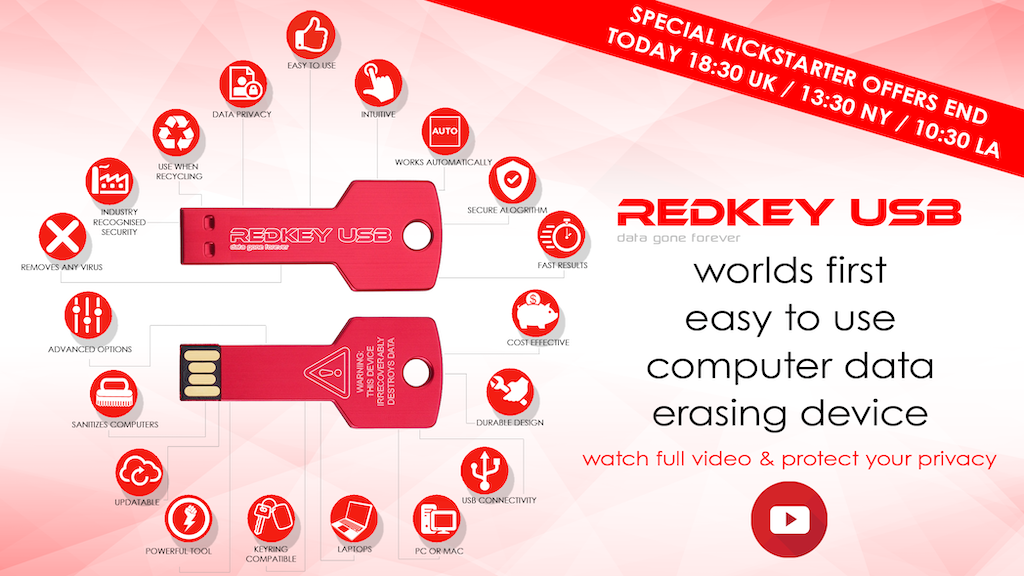 RedKey : Worlds 1st easy to use Computer Data Erasing Device miniatura de video del proyecto