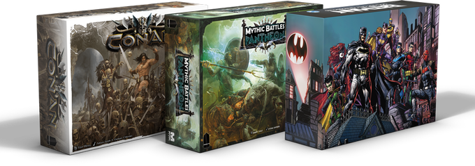 FRom left to right: Conan, Mythic Battle: Pantheon and Batman Gotham City Chronicles