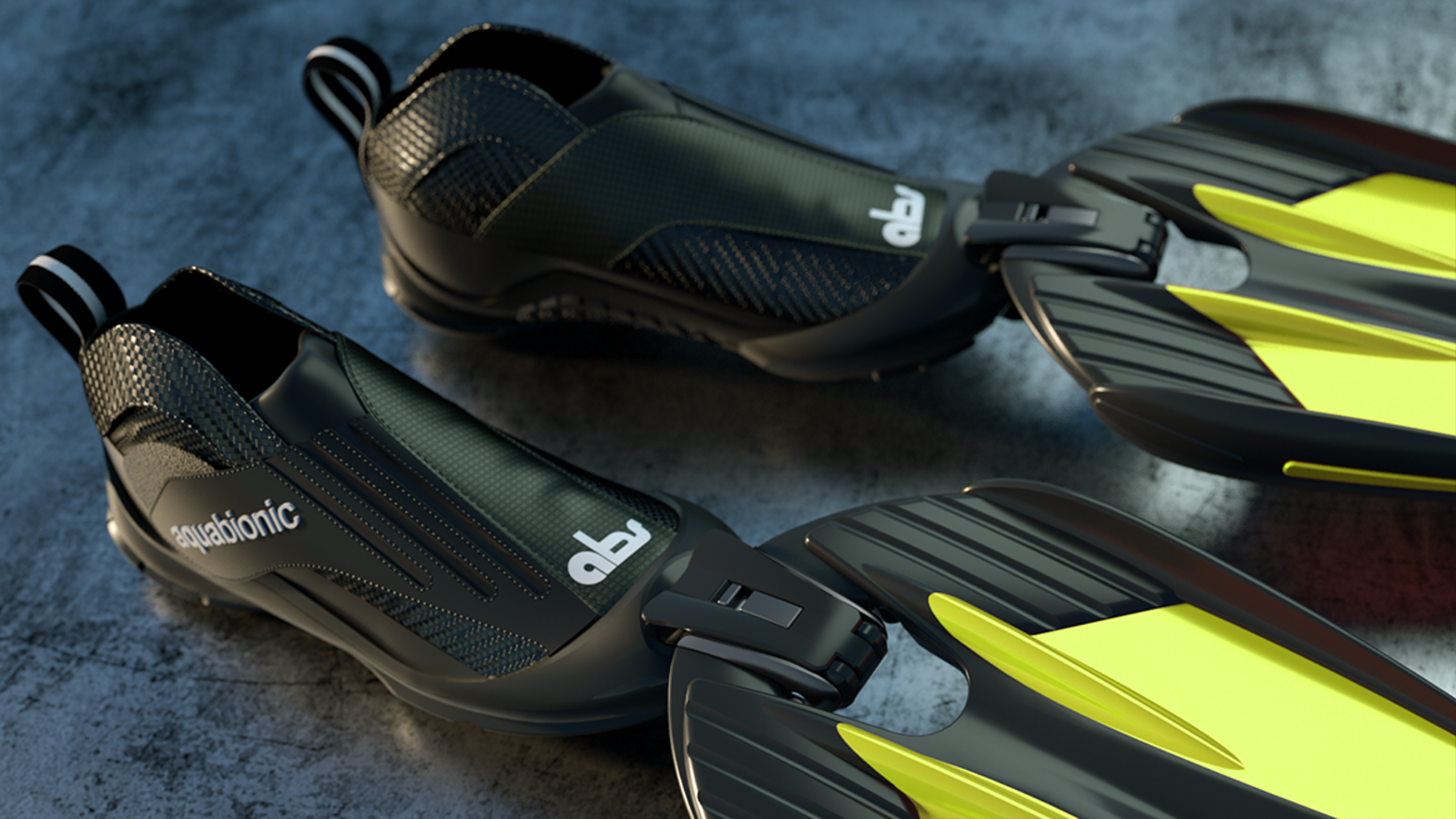 Aquatic hybrid water sports shoes|boots connect to fin-blade modules using ski-binding tech |aqua bionic|surf|snorkel|dive|swim|flipper