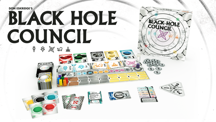 A negotiation and deduction game about secret agendas and throwing planets into a black hole.