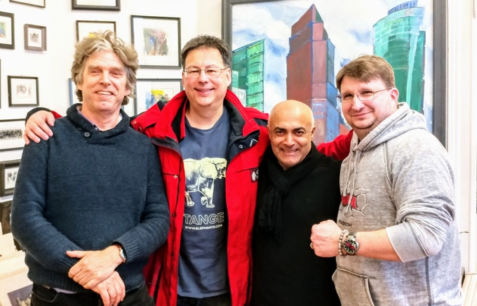 From Left to Right: Marton Radkai, editor of Wrist Watch Annual; Tim Temple of Talk About Watches; Kani Alavi, executive director of the East Side Gallery; Craig Hester, co-founder of Pramzius.