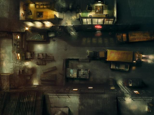 A drak alley at nightfall