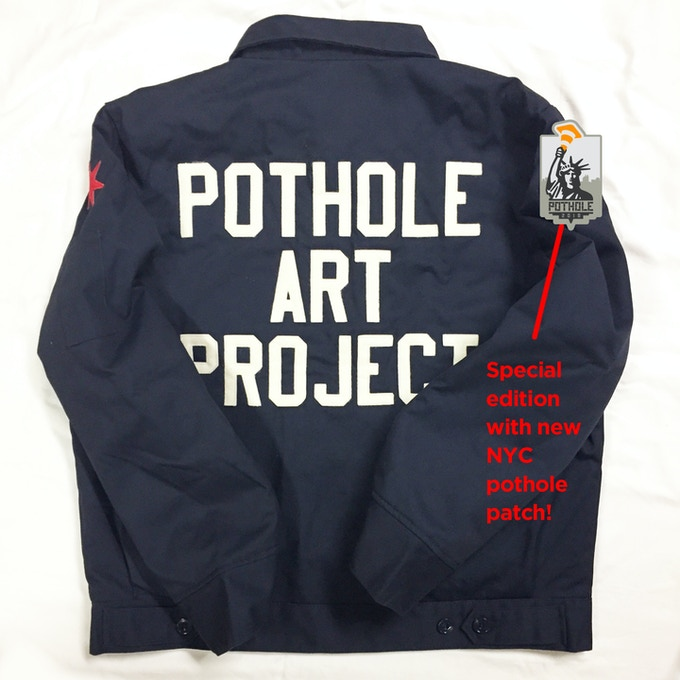 "An ""Ebbets Field Flannels"" NYC Pothole Art Project ""Groundskeeper"" jacket can be your reward, along with a patch and sticker, for a contribution of $250. (The jacket probably won't look exactly like this but similar.)"