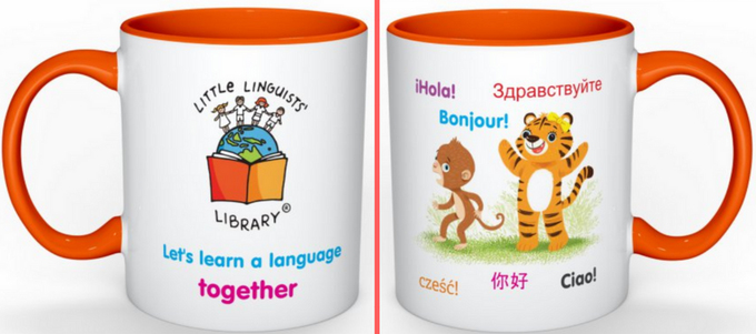 Little Linguists' Library mug in the 'Story-time pack' reward
