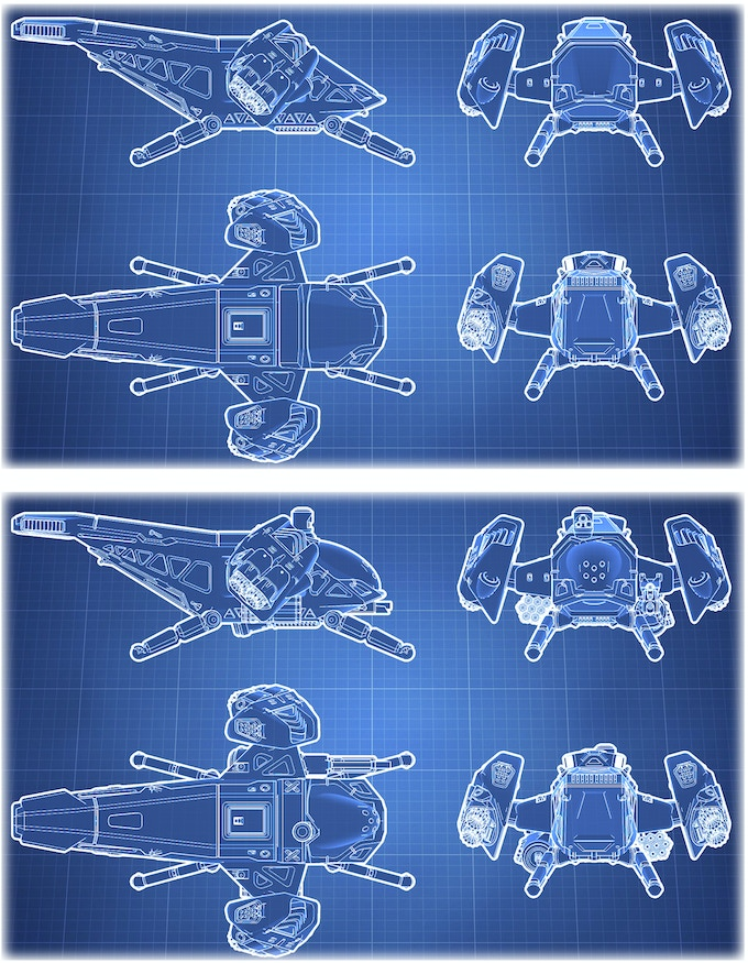 Blueprints for Civilian and Warbird versions