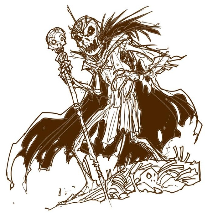 Sketch of the next monster, The Skeleton King