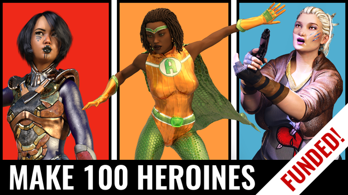 100 diverse new heroines, across multiple genres, to be released as a book and PDF under a Creative Commons license.