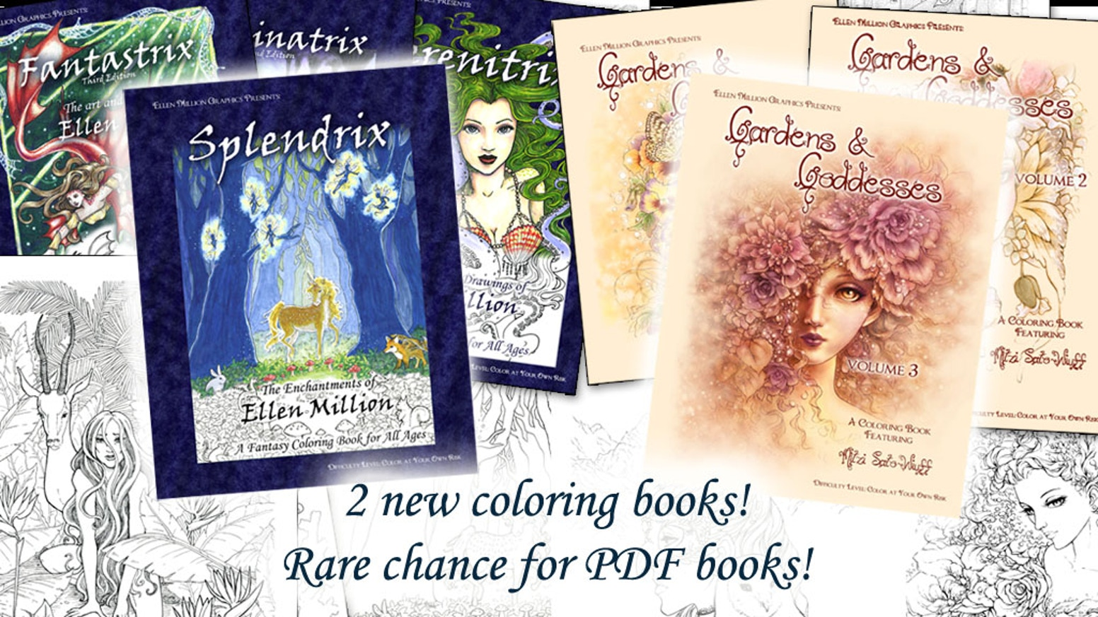 Two stunning new fantasy coloring books for (so-called) grown-ups by Ellen Million and Mitzi Sato-Wiuff: Splendrix and Gardens and Goddesses 3!