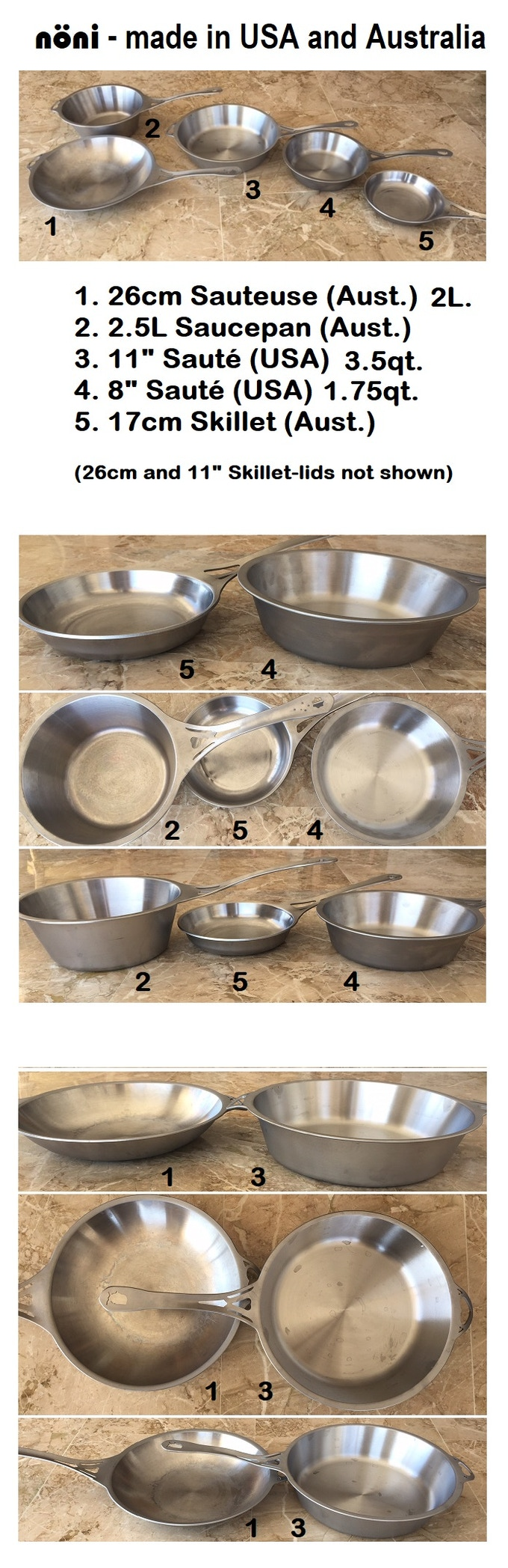 """Beware of photo perspectives! The new 11"""" Sauté has much more capacity than our 26cm Sauteuse (and very different walls), and the 8"""" Sauté is much bigger/deeper than our 17cm Skillet."""