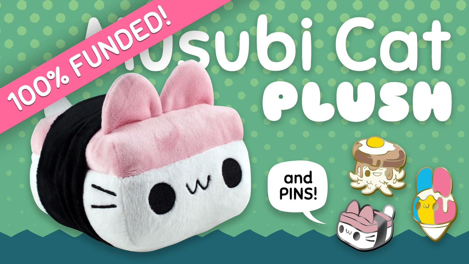 Introducing Pocket Sushi's first plush toy, the Musubi Cat, and a set of cute Hawaii food-inspired enamel pins!