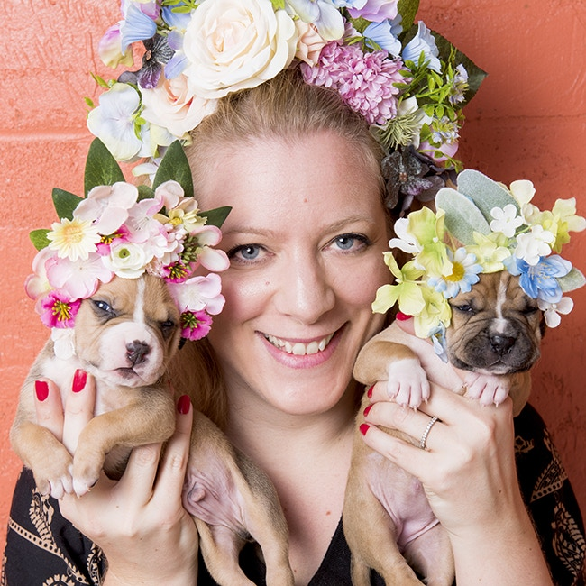 Sophie Gamand and her youngest Pit Bull Flower Power models.