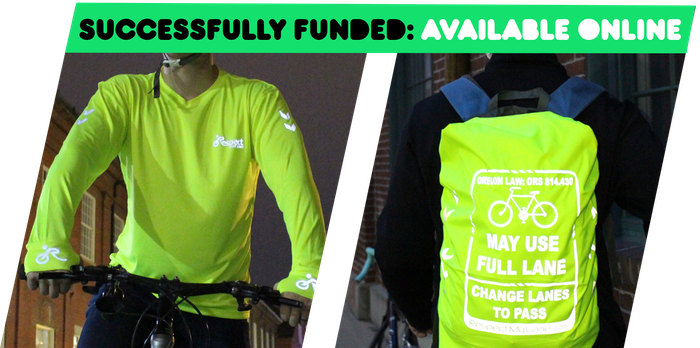 Boldly communicate state bike laws to drivers with Respect My Lane's reflective & highly-visible cycling shirts & backpack covers
