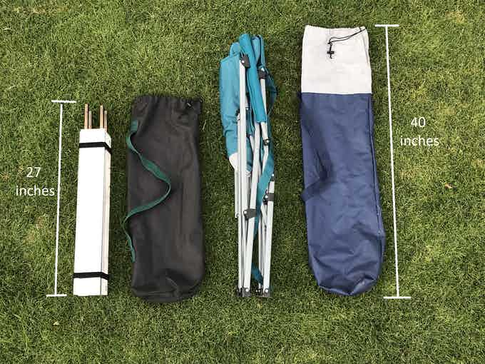 Pop-Up Pit (left) with its bag next to a standard camping chair (right)