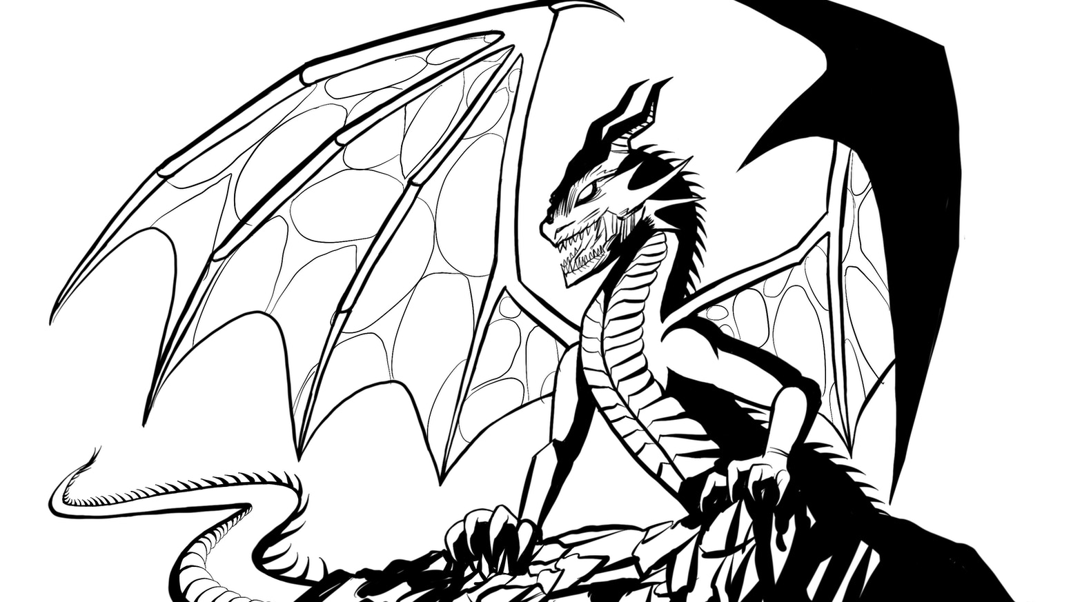 It is a picture of Magic Dragon Coloring Picture